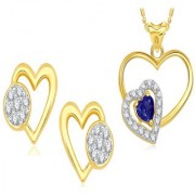 VK Jewels Gold and Rhodium Plated Alloy Earrings & Pendant Combo Set for Women & Girls made with Cubic Zirconia - COMBO1509G [VKCOMBO1509G]
