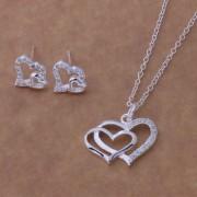 Set placat argint colier si cercei inimioare Sara