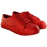 Blinder womens Red Golden Star Lace-Up Casual Sneakers Shoes