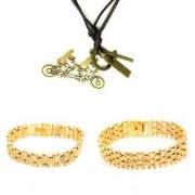 Goldplated Bracelet Combo With Stunning Stylish Biker Pendant By Goldnera
