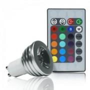 Faretto a LED con luce MULTICOLOR con TELECOMANDO - attacco GU10