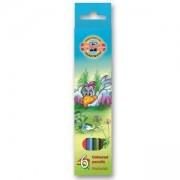 Комплект цветни моливи Koh-i-Noor Птици, 6 цвята, 2200035