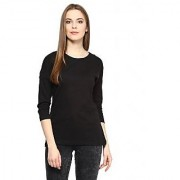 Hypernation Round Neck Black Cotton Tshirt