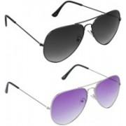 Hrinkar Aviator Sunglasses(Grey, Violet)