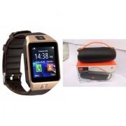 Zemini DZ09 Smart Watch and Mini Xtreme K5 + Bluetooth Speaker for LG OPTIMUS L3(DZ09 Smart Watch With 4G Sim Card Memory Card| Mini Xtreme K5 + Bluetooth Speaker)