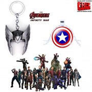 2 Pc AVENGER SET - THOR HELMET / CROWN SILVER COLOUR IMPORTED METAL KEYCHAIN & CAPTAIN AMERICA SHIELD 3D GLASS DOME METAL PENDANT WITH CHAIN ❤ LATEST ARRIVALS - RINGS, KEYCHAINS, BRACELET & T SHIRT - CAPTAIN AMERICA - AVENGERS - MARVEL - SHIELD - IRONMAN