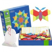Emob Wooden 130 PCS Geometric Shape Blocks Learning Puzzle Game with 24 Pattern Cards (130 Pieces)