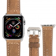QIALINO Crazy Horse Texture Genuine Leather Band for Apple Watch Series 4 44mm / Series 3 / 2 / 1 42mm - Brown