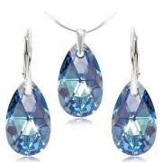 Set cercei + pandantiv argint cristal Swarovski para albastru Aquamarine