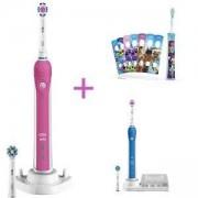 Електрическа четка за зъби Oral-B, SmartSeries 4000 3D синя и розова + Детска електрическа четка за зъби Philips Sonicare For Kids HX6311/17