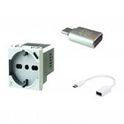 4BOX Presa Schuko Con Usb P40 Usb Da 3a Con Cavo Adattatore Usb C Compatibile Plana