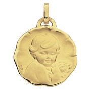 Orféva Médaille Ange à la rose (Or Jaune 9K)
