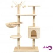 vidaXL Penjalica Grebalica za Mačke sa Stupovima od Sisala 125 cm Bež