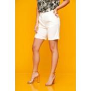 Pantalon scurt SunShine alb casual mulat din stofa elastica cu buzunare