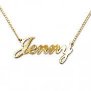 Personalized Men's Jewelry Small 18K Gold Plated Silver Name Necklace 101-01-147-08