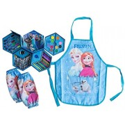 Deluxe Frozen 4 Layer Art Kit Set with Elsa & Anna Dress up Artist Apron plus Arm Sleeves