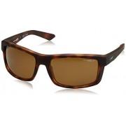 ARNETTE An4216 anteojos de sol rectangulares para hombre, Habana oscura/marrón oscuro polarizado, 61 mm