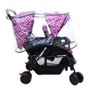 Soft Comfortable Shockproof Twin Stroller Pram with Rain Cover (Purple)