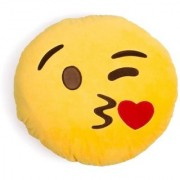 De Ultimate Love Kiss Ultra Soft Plush Emoji Pillow Cusion For Sofa/Couch/Bed Decor - 9 cm