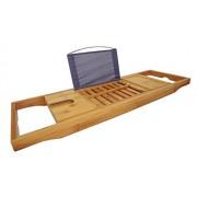 DOZYANT Bandeja de bambú para Tina con Laterales extendidos, Estante para Lectura, Soporte para tabletas, Bandeja para teléfono Celular y Soporte para Copas de Vino