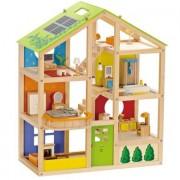 HAPE Casa delle bambole 4 stagioni (ammobiliata) E3401, 35 pezzi