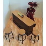 BAR stil anii 1950 cu 3 scaune - miniatura papusi/colectionari