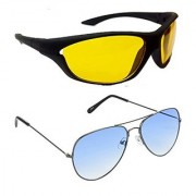 HRINKAR Men's Yellow Mirrored Sports Sunglasses