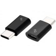 NTR ADAP71B USB Type-C dugó - microUSB aljzat adapter - fekete
