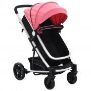 vidaXL Детска/бебешка количка 2-в-1, розово и черно, алуминий