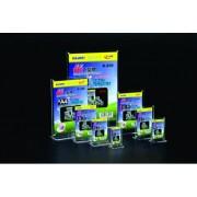 Display plastic cu magneti, pentru pliante, forma T, A7-portrait (74 x 105mm), KEJEA - transparent