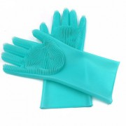 Eastern Club Magic Silicone Rubber Dish Washing Gloves for Kitchen and Pet Grooming Car Bathroom 1 Pair (Multicolour)