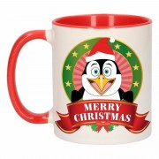 Shoppartners Kerstmis mok / beker pinguin 300 ml Multi