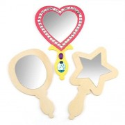 3 Wooden Mirrors to Decorate and Personalise. 3 assorted designs: round, heart and start-shaped - craft activity for children