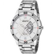 Skemi Analog Round White Dial Men Watch / Fashionable Men Watch / Watches For Men -074