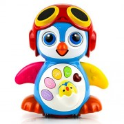 Toysery Musical Dancing Penguin Toy with Music, Story and Learning Modes for Kids   Intelligence Training, Bump and Go Walking and Waving   Sounds and Lights