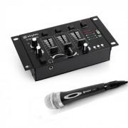 Skytec Mini DJ Conjunto de 1 x Mixer de 3/2 Canais 1 x Microfone