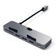Satechi Aluminium USB-C Clamp Hub - алуминиев USB-C хъб и четец за SD/microSD карти за iMac Pro 2017 (тъмносив)