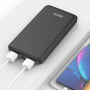 YK 021 10000mAh Power Bank Dual USB Output for iPhone Samsung Huawei, etc - Black