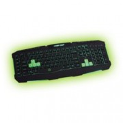 Клавиатура KEEPOUT F90, гейминг, 6 програмируеми макро клавиша, подсветка, черно/зелена, USB