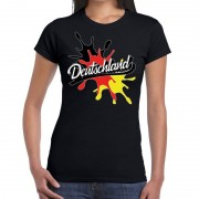 Bellatio Decorations Deutschland/Duitsland t-shirt spetter zwart voor dames