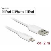 Cablu de date + incarcare Lightning MFI pentru iPhone, iPad, iPod Alb 2m, Delock 83919