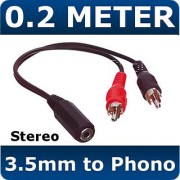 0.2m Metre 3.5mm Female Stereo Socket to 2x Male RCA Phono Plugs Cable Adapter