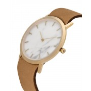 Analog Watch Classic White marble Dial & Tan Strap Watch GT-CW