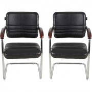 Fabsy Interior - Fabsy Interiors'S Black Leatherette Visitor Chair With Wooden Handle Set Of 2