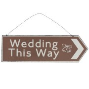 """Insegna in metallo decorativa """"Wedding this way"""" segnale stile retrò"""