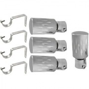 Hans Enterprise Silver Set of 4 Stainless Steel Single Curtain Rod Bracket pack of 8