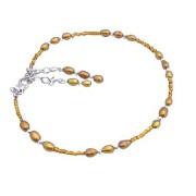 Copper Pearls Rice Shaped Bracelet w/ Glass Beads Bracelet