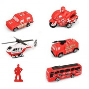 Play Vehicles Set JINGYAT Mini Cars Toy Assorted Five Fire Truck Die Cast Vehicle