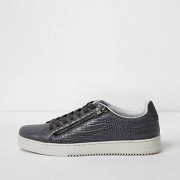 River Island Mens Grey croc embossed lace-up plimsolls (Size 46)