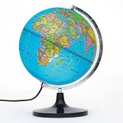 PROW 12 Inch Illuminated Detailed Educational Geographic Learning 12 Inch Diam World Globe Tellurion Terrestrial Globe With Stand for Kids Baby Lighting Night View